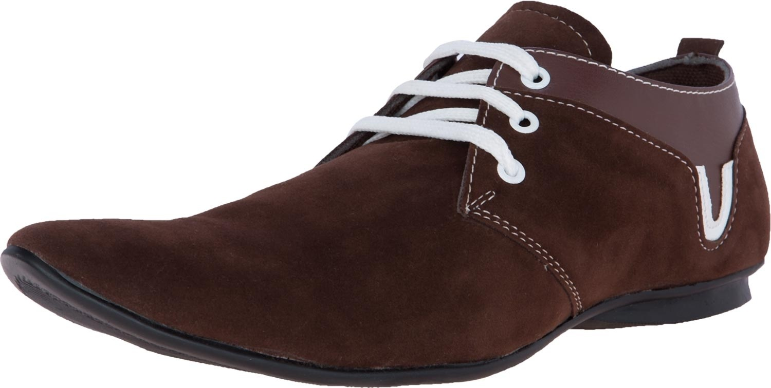 Zovi Coffee Brown Elongated Lace Up Casual Sneakers(Brown)