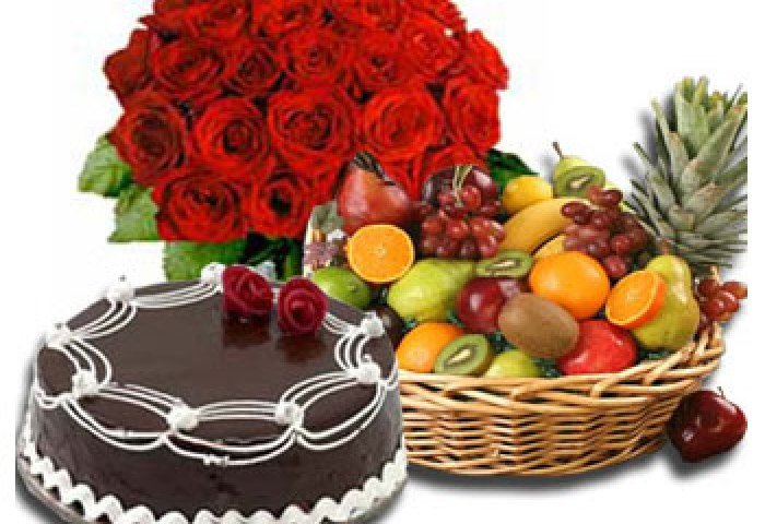 Cake Flowers N Fruits Birthday Congratulations India