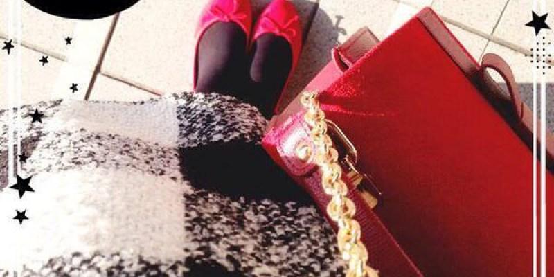 [穿搭] 喜宴穿搭-淘寶黑白格紋洋裝+Chacoco紅色蝴蝶結側背包+Pull&Bear小紅鞋