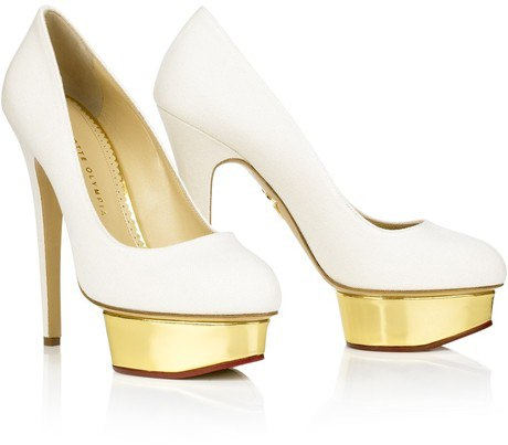 Charlotte Olympia Dolly canvas White pumps