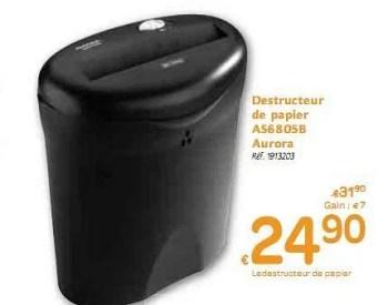 Promotion Carrefour Destructeur De Papier Aurora Materiel Pour Bureau Et Pour L Ecole Valide Jusqua 4 Promobutler