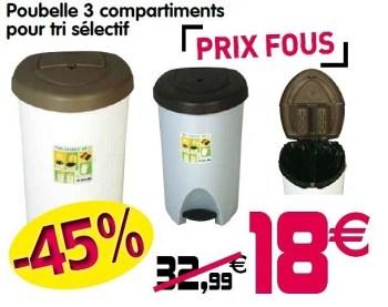 poubelle 3 compartiments pour tri selectif