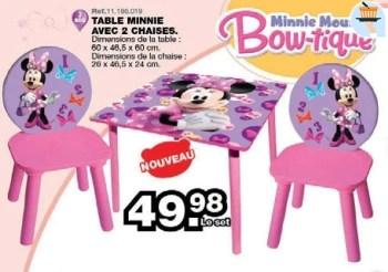 table minnie avec 2 chaises