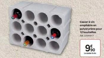 casier a vin empilable en polystyrene pour 12 bouteilles