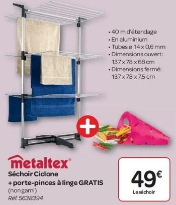 Promotion Carrefour Sechoir Ciclone Porte Pinces A Linge Gratis Metaltex Menage Valide Jusqua 4 Promobutler
