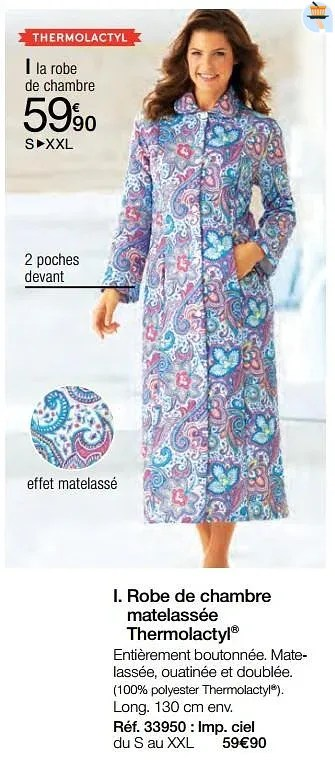 Promotion Damart Robe De Chambre Matelassee Thermolactyl Produit Maison Damart Vetements Chaussures Valide Jusqua 4 Promobutler