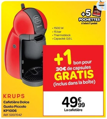 krups cafetiere dolce gusto piccolo kp1006