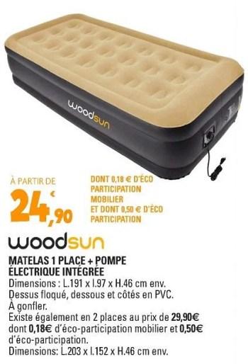 woodsun matelas 1 place pompe electrique integree