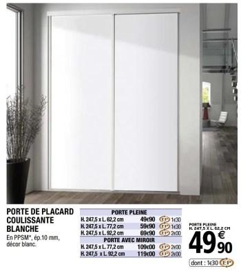 Promotion Brico Depot Porte De Placard Coulissante Blanche Form Meubles Valide Jusqua 4 Promobutler