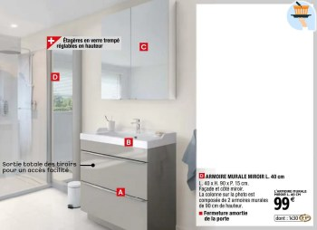 Promotion Brico Depot Armoire Murale Miroir Goodhome Cuisine Salle De Bain Valide Jusqua 4 Promobutler