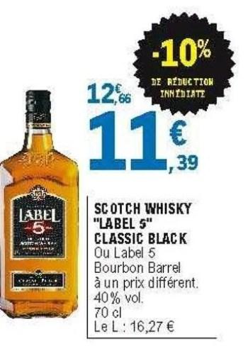 scotch whisky label 5 classic black