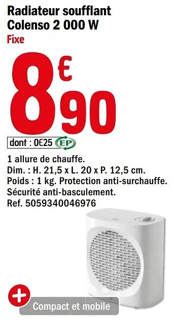 Promotion Brico Depot Radiateur Soufflant Colenso 2 000 W Fixe Goodhome Chauffage Et Climatisation Valide Jusqua 4 Promobutler