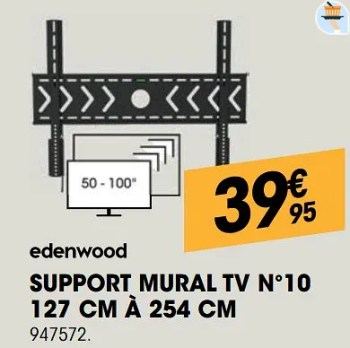 support mural tv n 10 127 cm a 254 cm