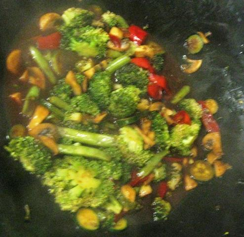 Broccoli Mushroom And Red Peppers In Black Bean Garlic
