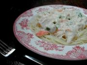 angel hair pasta and crab