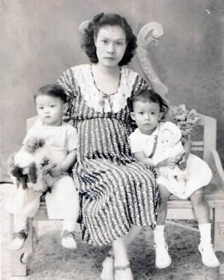 Rizalina Calleja Baltazar and her kids, Maria Virginia and Antonio in the late 1940s.