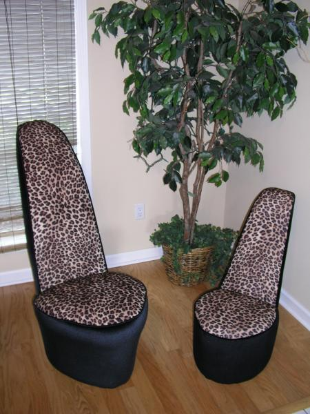 leopard high heel shoe chair chairs for showers invalids zebra fabric images