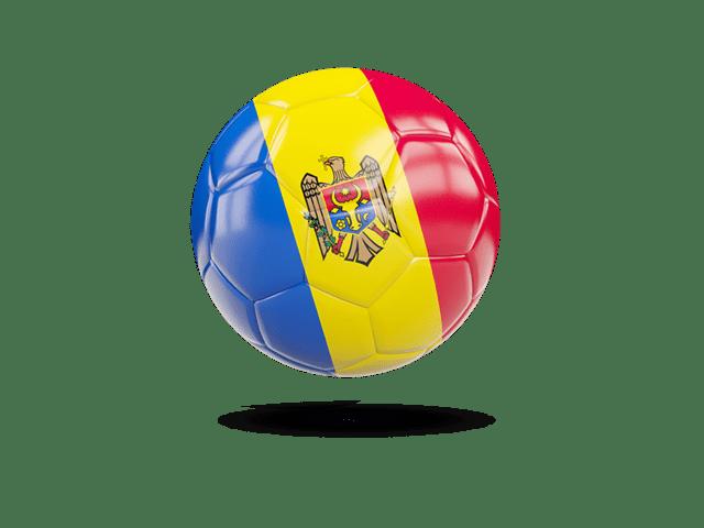 Glossy Soccer Ball. Illustration Of Flag Of Moldova