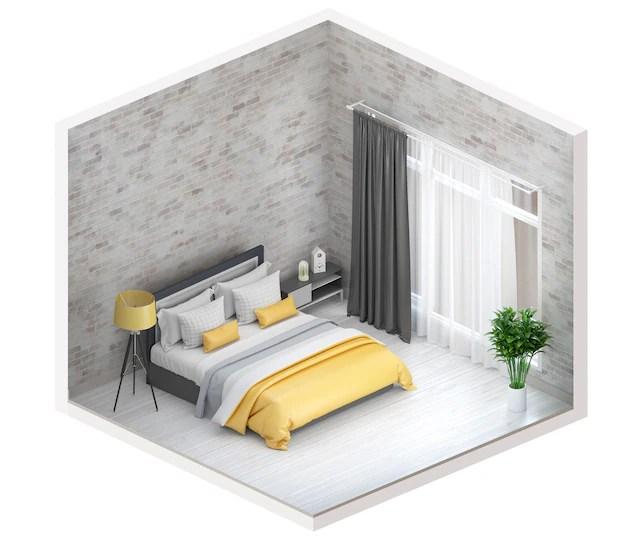3d render of interior modern bedroom.   Premium Photo