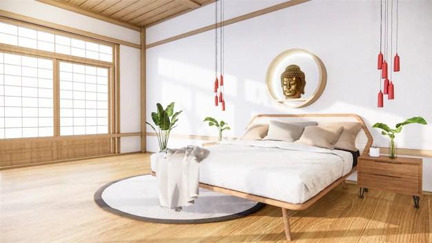 Premium Photo Bedroom Mock Up With Wooden Bed In Japan Minimal Design