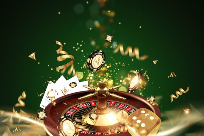 Premium Photo | Creative background, roulette, gaming dice, cards, casino  chips on a green background