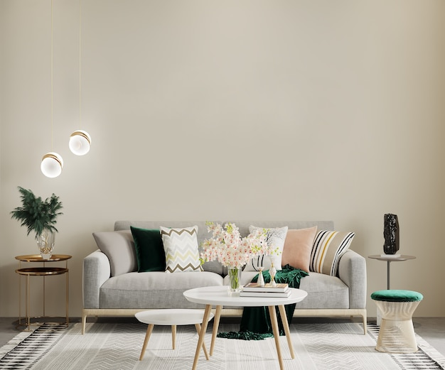 Premium Photo Scandinavian Style Living Room With Furniture And Coffee Table 3d Render Interior Mockup Wall Mockup Frame Mockup