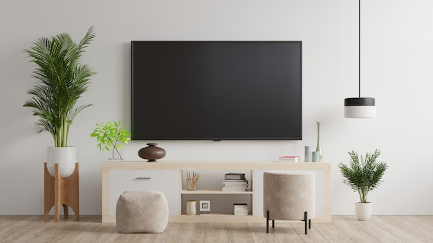 Premium Photo Tv On Wall And Cabinet Living Room