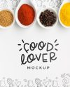 Free Psd Food Lover And Bowls Filled With Spices Mock Up