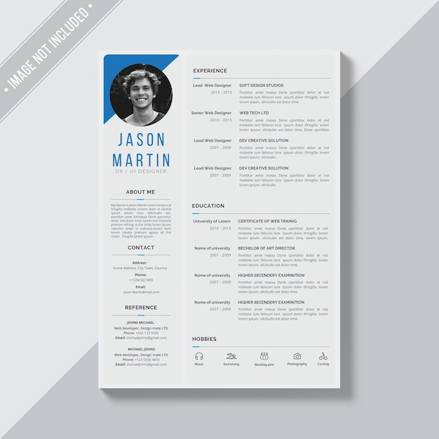 White cv template with blue and grey details PSD file | Free Download