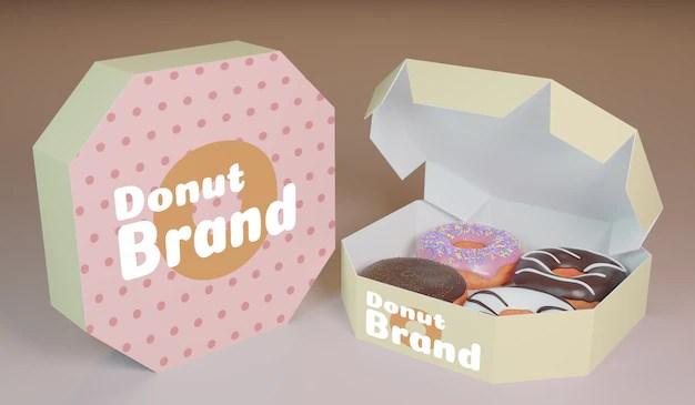 Food box mockup psd free download. Premium Psd Packet Donut Product 3d Render Model For Product Mockup Design