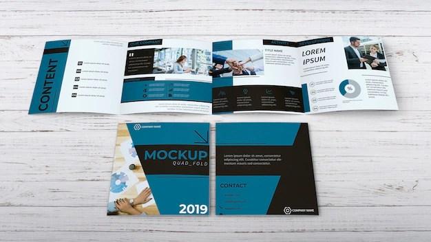 Mockup folder 2 dobras psd. Free Psd Quadfold Brochure Mockup