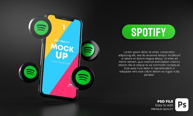 Spotify mockup is an awesome mockup that includes 4 screens: Premium Psd Spotify Icons Around Smartphone App Mockup 3d