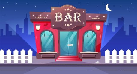 Free Vector City street with bar at rainy night cartoon illustration of cafe exterior with people inside restaurant or coffee shop facade at bad weather with rain outside