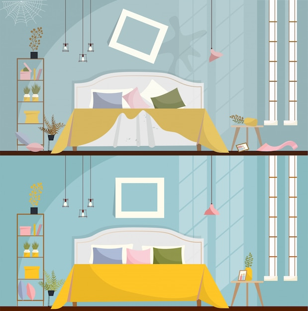 Premium Vector Bedroom Before And After Cleaning Dirty Room Interior With Scattered Furniture And Items Bedroom Interior With A Bed Nightstands Wardrobe And Large Windows Flat Cartoon Style Vector Illustration