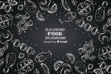 Free Vector Blackboard food background