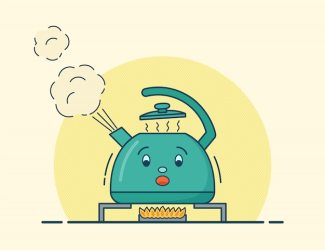 Premium Vector Boiling kettle character in flat illustration