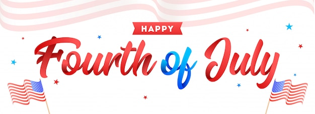 Premium Vector Calligraphy Of Fourth Of July And Wavy American Flags On White B