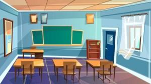 classroom cartoon background empty college elementary university vectors vector desk board banner
