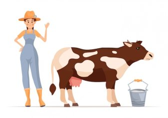 Cartoon farmer girl character with cow.