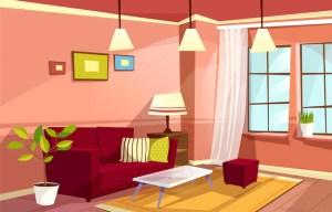 living cartoon vectors books apartment