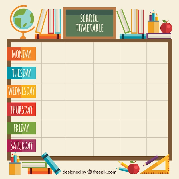 Classroom elements with school timetable also vectors photos and psd files free download rh freepik