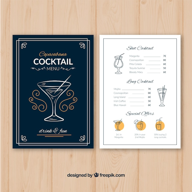 Cocktail menu template with flat design Vector | Free Download