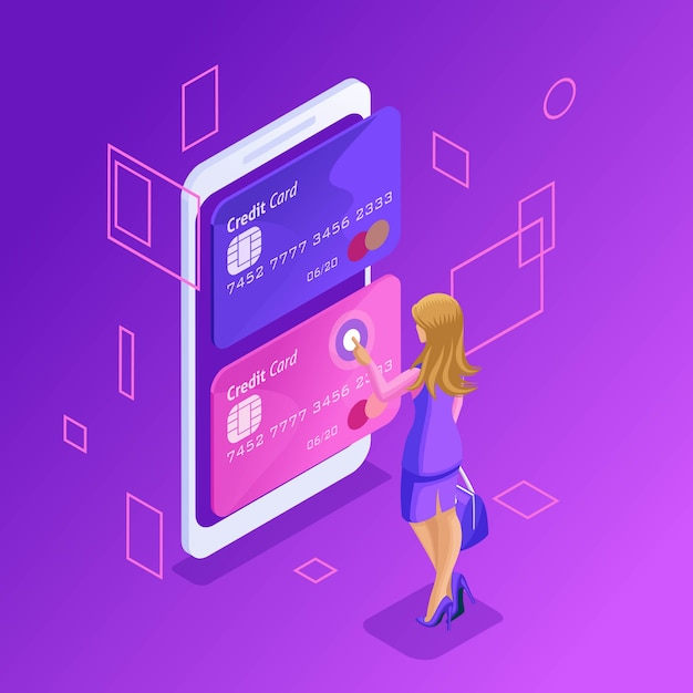 Premium Vector Colorful Concept Of Managing Online Credit Cards An Online Bank Account A Business Woman Transferring Money From Card To Card Using A Smartphone