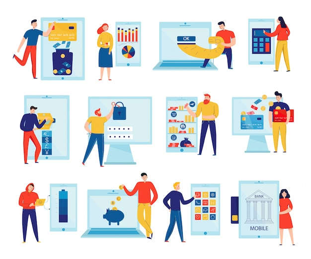 Free Vector Colorful Flat Icons Set With People Paying Bills And Checking Accounts Through Online Banking Isolated