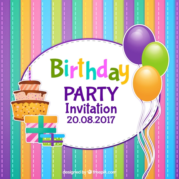 free vector colorful striped birthday
