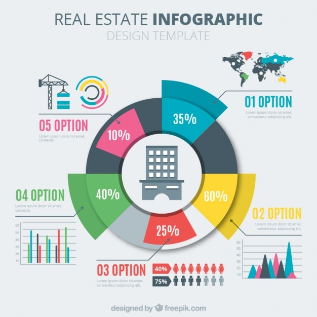 Coloured real estate pie chart also vectors photos and psd files free download rh freepik