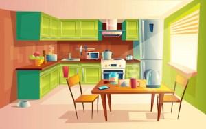 kitchen background fridge modern cozy vectors appliances freepik toaster stove microwave vector save psd