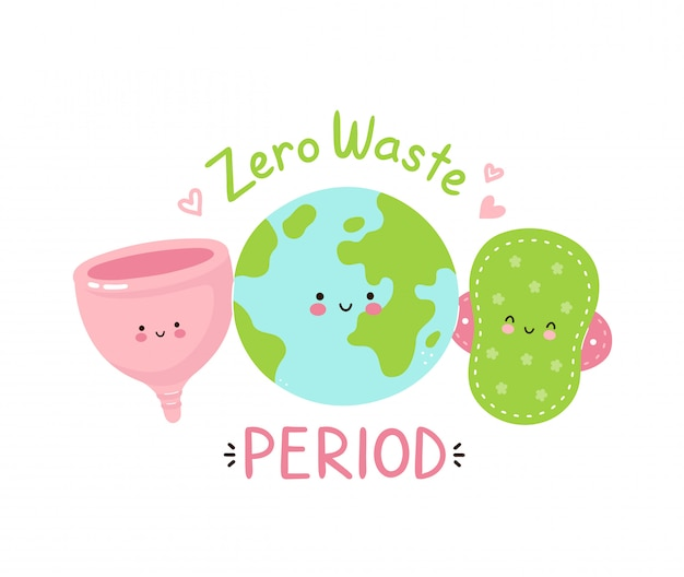 Premium Vector | Cute happy earth planet,cloth pad and menstrual cup. zero waste period isolated on white . vector cartoon character illustration design,simple flat style. eco friendly period concept