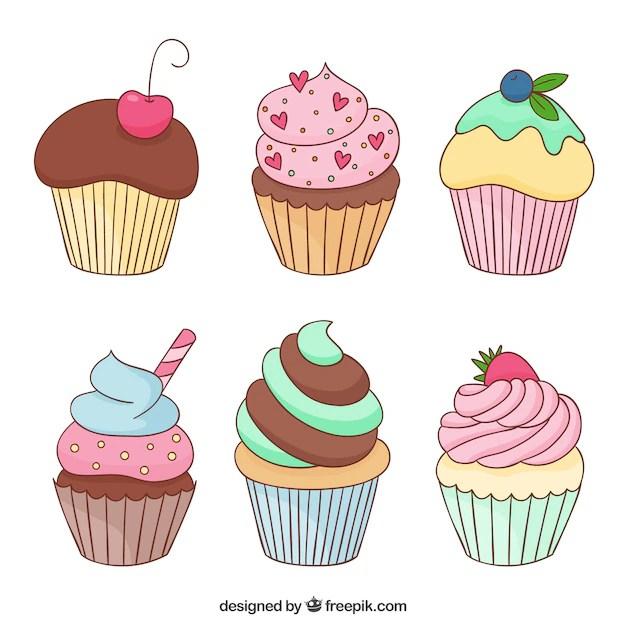 birthday cupcake cartoon vector