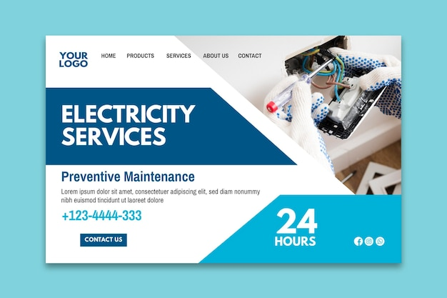 Unique and creative advertisements help promote your business, keep customers engaged, and grow your clientele. Free Vector Electrician Ad Landing Page Template
